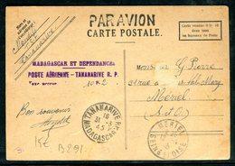 Madagascar - Griffe De Surtaxe Aérienne De Tananarive Sur Carte Pour La France En 1945 - Madagascar (1889-1960)