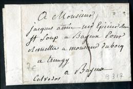 Lettre Avec Texte (scan Intérieur Sur Demande) De Louvres Pour Bayeux En 1819 - Postmark Collection (Covers)