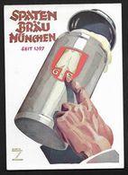 Bière Beer - Spaten Brau Munchen - Au Dos Cachet POUSSET Paris &  Trouville - Carte Postale Publicité - Publicité