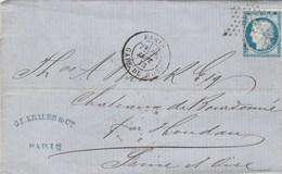 Yvert 60A Cérès Lettre Entête Krauss PARIS étoile 26 Gare Du Nord 26/9/1873 Verso Ambulant + Cachet Perlé Condé S Vegre - 1849-1876: Période Classique