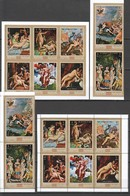 S704 !!! IMPERFORATE, PERFORATE MANAMA ART GREEK MYTHOLOGY PAINTINGS GOLD 2SET MNH - Art