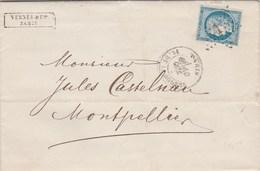 Yvert 60A Cérès Lettre Entête Vernes PARIS étoile 1 Du 10/10/1872 Pour Montpellier Cachet Ambulant Paris à Marseille D - 1849-1876: Periodo Clásico