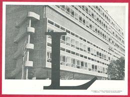 Illustration De La Lettre L, Logement, La Cité Radieuse à Marseille, Larousse 1953 - Vieux Papiers