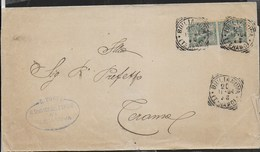 STORIA POSTALE REGNO - ANNULLO TONDO RIQUADRATO GIULIANOVA/(TERAMO) 20.11.1904 SU FASCETTA  S.C.PER TERAMO - Storia Postale