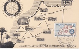 MAROC  Carte Maximum  Cinquentenaire Du Rotaryy International   Jui. 55 - Lettres & Documents