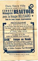 """Feuillet Publicitaire Programme """"Cirque Ménagerie BEAUTOUR Avec La Troupe Béllisario 13.5 X 21.5 Cm - Programmes"""