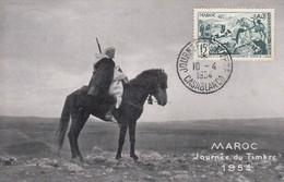 MAROC  Carte Maximum  Journée Du Timbre Casablanca   Avr. 54 - Maroc (1891-1956)