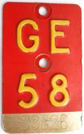 Velonummer Genf Genève GE 58 - Plaques D'immatriculation