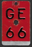 Velonummer Genf Genève GE 66 - Plaques D'immatriculation
