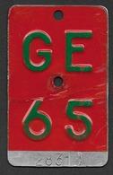 Velonummer Genf Genève GE 65 - Plaques D'immatriculation