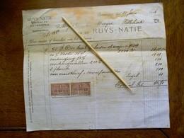 Oude Faktuur   RUYS  - NATIE  Antwerpen  1926 - Titres De Transport