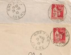 Cachet Tireté BREZINS Isère Sur 2 Enveloppes Pour MACON. Mécaniques à L'Arrivée. 1933 - Marcophilie (Lettres)