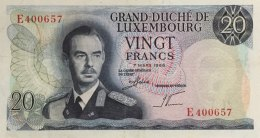 Luxemburg 20 Francs, P-54 (7.3.1966) - EF/XF - Luxembourg