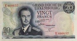 Luxemburg 20 Francs, P-54 (7.3.1966) - EF/XF - Luxemburg