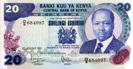 Kenya 20 Shillings, P-21a (1.1.1981) - UNC - Kenia