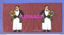 2 SINGLE COCKTAIL SIZE PAPER NAPKIN PAPIER SERVIETTE TOVAGLIOLI  GUY BUFFET WAITER With LE BOUQUET Le CHAMPAGNE - Papieren Servetten (met Motieven)