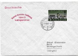 """123 - 29 - Enveloppe Avec Oblit Spéciale """"Kantonal-Bernisches-Trachtenfest 1947 Langenthal"""" - Marcophilie"""
