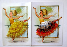 CP ESPAGNE 2 CARTES BRODÉES AVEC DENTELLE DORÉE   DANSEUSE         ILLUSTRATION  MARY MAY - Embroidered
