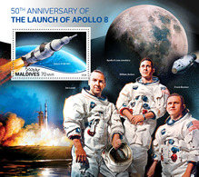 Maldives. 2018 50th Anniversary Of The Launch Of Apollo 8. (706b) - Space
