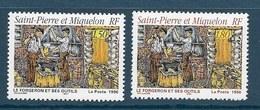 Timbre Neuf** St Pierre Et Miquelon , N °628-9 Yt , Le Forgeron Et Ses Outils - St.Pierre Et Miquelon