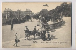 Attelage D'Âne - Charette - Promenade Dans Les Jardins Du Luxembourg - Paris - Le Sénat - Animée - Parcs, Jardins