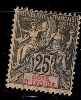 Côte D'Ivoire - Oblitéré Used -  Y&T N° 8 Type Sage 25c - 1876-1878 Sage (Type I)