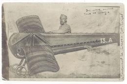 Cpa Carte-photo, Soldat Dans Avion Monoplan, Montage Fête Foraine  ( MI ) - Characters
