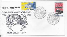 25.- SOCHAUX .- PEUGEOT .- CHAMPION DU MONDE DES RALLYES 1985-1986 - PARIS-DAKAR 1987 - FDC