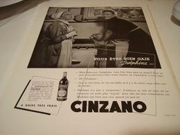ANCIENNE PUBLICITE APERITIF BIEN GAIE JOSEPHINE CINZANO 1938 - Alcoholes