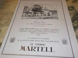 ANCIENNE PUBLICITE ALFRED DE VIGNY COGNAC  MARTELL 1938 - Alcoholes