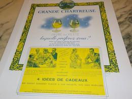 ANCIENNE PUBLICITE LIQUEUR GRANDE CHARTREUSE DES CADEAUX   1939 - Alcoholes