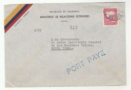 1950s COLOMBIA  FOREIGN MINISTRY To UNITED NATIONS SECRETARY GENERAL USA Cover Stamps Airmail Un - Colombia