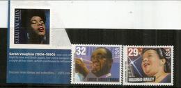 Sarah Vaughan,Mildred Bailey,Louis Armstrong. 3 Timbres Neufs **, Inclus Adhésifs - Cantantes