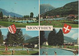 Monthey - Piscine Olypique De La Ville Et Vue Sur La Dent De Morcles - VS Valais