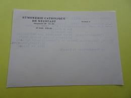 Papier à En-tête Aumonerie Catholique De Neustadt (Strasbourg). Au Dos, Tapuscrit Un Sujet De Devoir D'histoire - Cartes De Visite