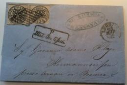 Stato Pontificio ANCONA 1858 > CZECHOSLOVAKIA (Austria) RR ! (lettera Cover Brief Böhmen Hermannseifen - Etats Pontificaux