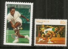 American Tennis Player Althea Gibson &  Squash Australia Champion Geoff Hunt. 2 Timbres Neufs ** - Tennis
