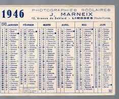 Limoges (87 Haute Vienne) Calendrier 1946  J MARNEIX Photographies Scolaires  (PPP14194) - Calendars
