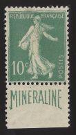N°188A 10c Vert Type Semeuse MINÉRALINE Neuf* TB - Signé & Certificat Calves - Frankreich