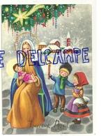 Joyeux Noël. Vierge Marie, Enfant Jésus, Petits Bergers, Village Et église Sous La Neige, Etoile, Bougie - Noël