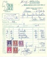 FAT189 - FATTURA 1960- ITALIA - INDUSTRIA PANETTONI E AFFINI DI ROSSI ZUBANI & C - BRESCIA - MARCHE DA BOLLO - Italia