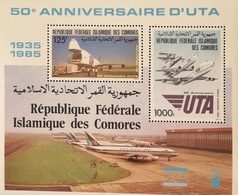 Comoros 1985 Air Transport Union ,UTA , 50th, Anniv. Sheet Of Two - Comoros