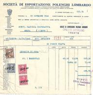 FAT191 - FATTURA 1940- SOCIETA' DI ESPORTAZIONE POLENGHI LOMBARDO - MARCHE DA BOLLO - Italia