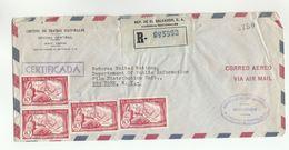 1957 Registered EL SALVADOR To UN NY COVER Airmail National Theatre Circuit To United Nations Usa Chalatenango Stamps - El Salvador