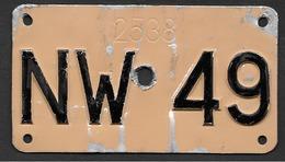 Velonummer Nidwalden NW 49 - Plaques D'immatriculation