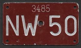 Velonummer Nidwalden NW 50 - Plaques D'immatriculation
