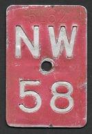 Velonummer Nidwalden NW 58 - Plaques D'immatriculation
