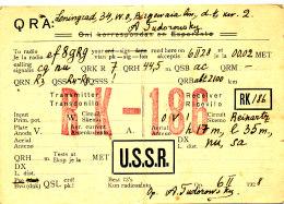 R 61 / CARTE FICHE RADIO AMATEUR     USSR   RK - 186 - Radio Amateur