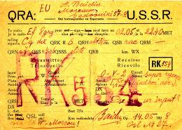 R 62 / CARTE FICHE RADIO AMATEUR     USSR   RK - 554 - Radio Amateur