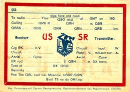 R 65 / CARTE FICHE RADIO AMATEUR     USSR   SKW - Radio Amateur